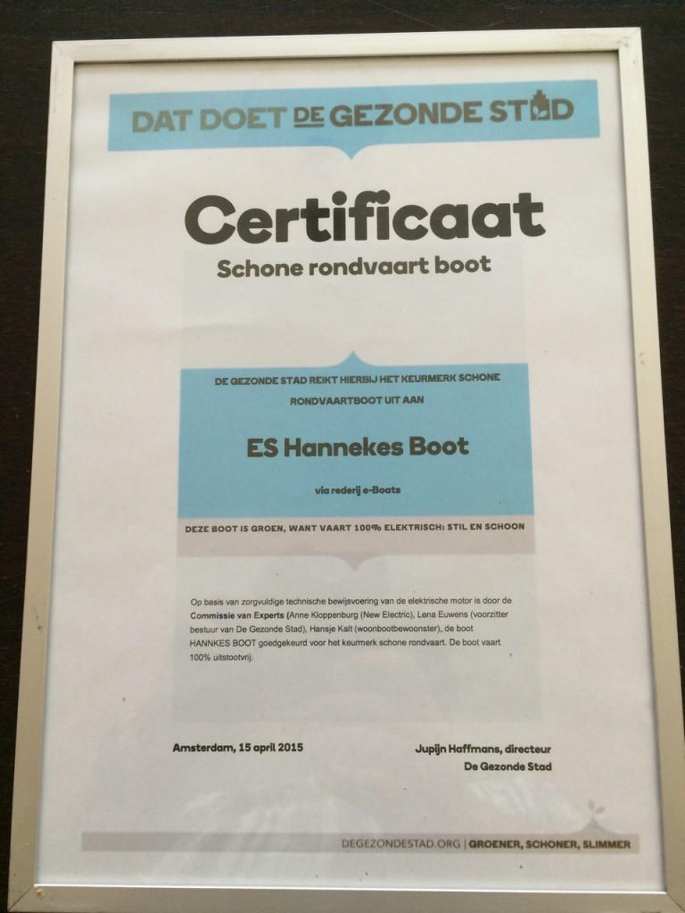 Certificaat Gezonde stad voor Hannekes Boot